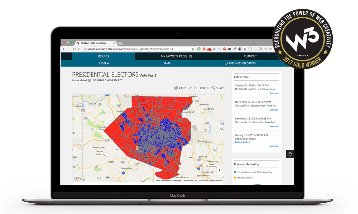 W3 Award-Winning Election Night Reporting Map in a computer