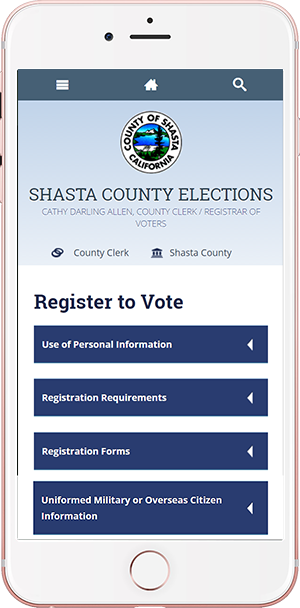 Shasta County site in an iphone display voter registration, vote locations